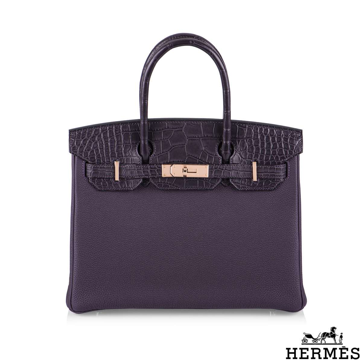 Hermès 30cm Touch Birkin  Pruenoir Matte Alligator and Raisin Togo Leather RGH